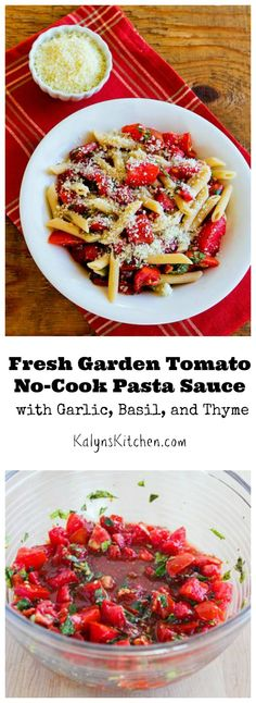 It doesn't get much easier or more delicious than this Fresh Garden Tomato No-Cook Pasta Sauce; make this now while tomatoes are great. [from KalynsKitchen.com]