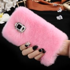 Note 4 Luxury Bling Diamond Real Rabbit Fur Capa For Samsung Galaxy Note4 N9100 Girl Woman Soft Anti-shock Back Phone Case Cover