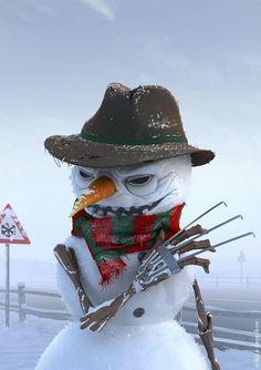 Do You Want to Build a Snowman? Freddy Krueger, Arte Horror, Horror Art, Chucky, Scary Movies, Horror Movies, Freddy Horror, Dark Christmas, Halloween Christmas
