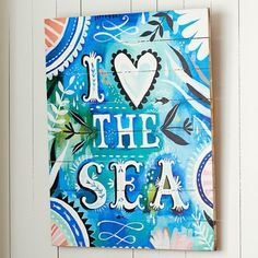 Pottery Barn Teen Katie Daisy &quotI Love The Sea&quot Watercolor Surf Art