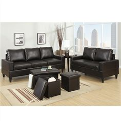 Rocker Recliner Motion Sofa 3 PC Set Espresso Leatherette Finish