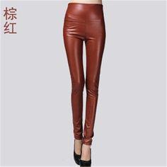 2018 women ladies winter warm Leather high waist stretch Pants female – rricdress Black Velvet Leggings, Warm Leggings, Sport Pants, Stretch Pants, Leather Pants, Pu Leather, Wide Leg Pants, Pants For Women