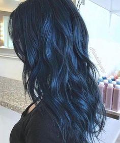 Blue Black Hair Color, Blue Hair Colors, Dyed Black Hair, Black To Blue Ombre, Dark Hair With Blue, Raven Hair Color, Short Blue Hair, Blue Purple Hair, Dark Blue