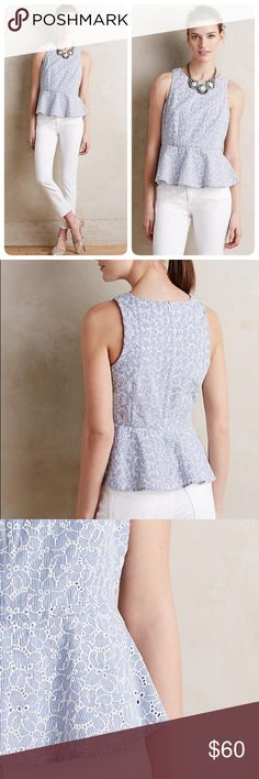 """Anthropologie Pia peplum tank Beautiful cotton eyelet tank top much prettier in real life than it is on the model. The pattern and texture are both lovely, and the peplum is very flattering. Size up one or two if ur busty ❤️😍 length 21.5"""" Anthropologie Tops Tank Tops"""
