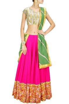 Multi-coloured embroidered lehenga set with olive green dupatta available only at Pernia's Pop-Up Shop.