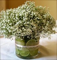 what do you think of this?  sans limes, could just be green leaves.  would be cheap.  in a mason jar maybe?