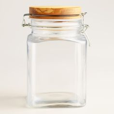 Glass Storage Container with Olivewood Lid