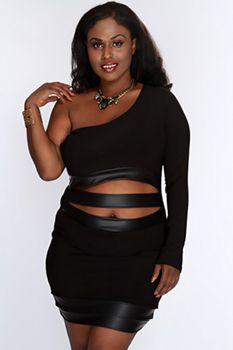 Black Gold Metallic Print Sexy Dress |Plus size clubwear|Plus size ...