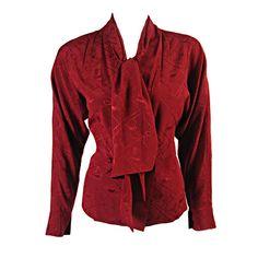 Hermès wine silk jacquard blouse | France, 1980's