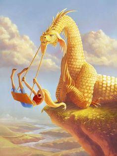 ☆ Dragon Swing :¦: Artist Kathryn Noble ☆ - love this! - ☆ Dragon Swing :¦: Artist Kathryn Noble ☆ – love this! Mythical Creatures Art, Mythological Creatures, Magical Creatures, Fantasy Artwork, Cartoon Dragon, Funny Dragon, Dragon Artwork, Dragon Pictures, Fantasy Dragon
