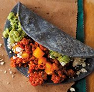 Chorizo and Potato Tacos  (Tacos de Chorizo y Papa) with blue corn tortillas for presentation and unique flavor