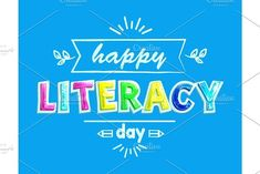 Happy literacy day poster with text colorful fonts. Pencil and lines, decorative foliage leaves. Congratulation with international readers day vector World Literacy Day, International Literacy Day, Back To School, Congratulations, Craft Ideas, Student, Graphic Design, Lifestyle, Happy