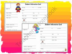 Cute and Adorable Student Information Cards from WorkaholicNBCT on TeachersNotebook.com (1 page)