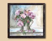 Still life Pink Roses PRINT -  Watercolor Painting, Flowers Fine Art,  Realistic painting, Home decor, Kitchen wall decor