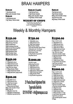 """Skaapland Tyger Valley Butchery"" Braai, Weekly and Monthly Hampers Lamb Shoulder Chops, Pork Loin Chops, Sirloin Steaks, Hampers, Decor, Pork Sirloin Chops, Decoration, T Bone Steak, Decorating"