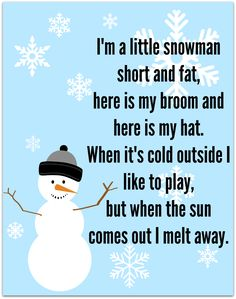 Snowman Song – FREE Printable Add some language and movement to this song and free printable and kids have fun: snowman song printable Preschool Poems, Kindergarten Songs, Kids Poems, Preschool Music, Preschool Classroom, Winter Preschool Songs, Winter Songs For Kids, Winter Activities, Christmas Songs For Toddlers