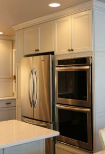 "Koch cabinets in a Birch ""Oyster"" painted finish surround  #walovens and #refrigerator in a remodeled #kitchen in Rock Island, IL.   