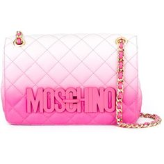 Moschino quilted crossbody bag (8.810 DKK) ❤ liked on Polyvore featuring bags, handbags, shoulder bags, pink purse, quilted shoulder bag, pink leather handbag, leather cross body purse and crossbody purse