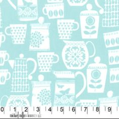 PUT A LID ON IT (Aqua) 1/2 yard. FUN fabric for your kitchen walls, apron, coasters, kitchen bag, curtain... http://etsy.me/N0Mq5H via @Etsy $5.45