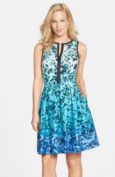 Vince Camuto Ombré Floral Print Sleeveless Fit & Flare Dress (Regular & Petite) available at #Nordstrom