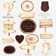 Wooden Slices Watercolor Clipart Wood pointer logs от ReachDreams