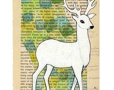 White deer - Print  -  book page art from norwegian artist Annette Mangseth