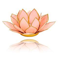 Lotus sfeerlicht pastel roze goudrand - 13.5 cm - Webshop