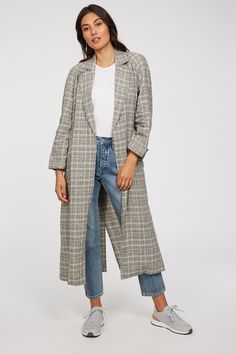 A lightweight trench is perfect in this transeasonal weather. The Ember Trench comes in a longline with a drape front and features a waist tie. Made from linen which uses way less water than othe Linen Shop, Check Printing, Jackets Online, Long A Line, Vest Jacket, Trench, Work Wear, Duster Coat, Clothes