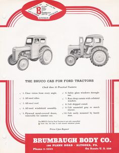 Brumbaugh Body Company Cab 8n Ford Tractor, Tractor Cabs, Vintage Ads, Planes, Packaging, Tractor, Airplanes, Vintage Advertisements, Wrapping