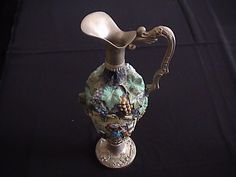 Art Deco hand painted glass and silver plated wine ewer.
