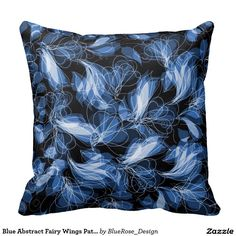 Blue Abstract Fairy Wings Pattern Throw Pillow   Available In Pink, Purple, Green, & Blue.