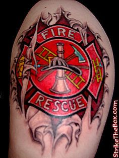 Maltese Cross Firefighter Tattoo (shoulder) | Shared by LION