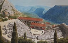 The Theater and the Temple of Apollo in Delphi Greece. The Most Famous of All Oracles in the Ancient World - Archaeology Illustrated Greece Architecture, Ancient Greek Architecture, Chinese Architecture, Architecture Art, Ancient Rome, Ancient Greece, Ancient Aliens, Oracle Of Delphi, Delphi Greece