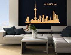 Shanghai Skyline Wall Decal, Wall Sticker.