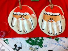 Santa handprint Christmas ornaments Made out of salt dough. Baked in 200 degree oven for 3 hours and cool. Painted...done. I love projects that represent my children's age-great for future memories
