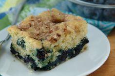 Skinny Blueberry-Lemon Coffee Cake with Almond Streusel