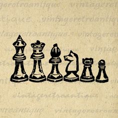 Chess Pieces Graphic Digital Download by VintageRetroAntique