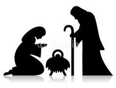 mary, joseph and baby jesus silhouette | nativity clipart | naughty or nice | pinterest | baby