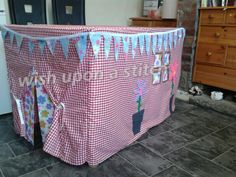 Awesome table tent in gingham from wish upon a stitch