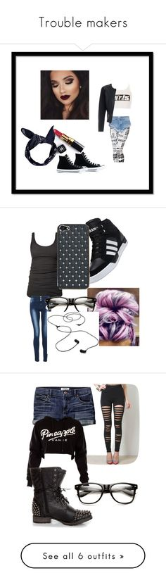 """""""Trouble makers"""" by jasmine-1214 ❤ liked on Polyvore featuring Alexander Wang, Converse, OneTeaspoon, Chanel, Boohoo, girl, news, trouble, bikergirl and James Perse"""