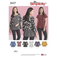 Misses' pullover tops are a great addition to your spring wardrobe—perfect for mixing prints, color blocking and/or lace fabrics. Simplicity sewing pattern by Karen Z.