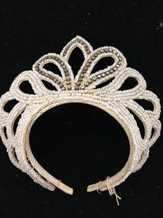 Vintage Beaded Wedding Crown with Rhinestones by TheRibbonerie on Etsy