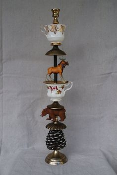 CANADIAN Treasure Stick  FUN WHIMSICAL candlestick by Lisaville, $195.00