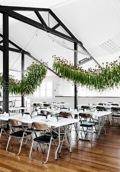 Tulip installation by Katie Marx and her team for The School's Maybelle calligraphy class in Melbourne. Photo – Brooke Holm on thedesignfiles.net
