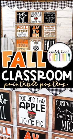Transform your classroom for the season of Fall with these printable Fall Classroom posters! These posters work beautifully on your bulletin board, classroom door, or anywhere on your classroom walls! Hello Fall!! Fall classroom decorations // Fall bulletin boards // Fall door decorations classroom Inspirational Classroom Posters, Printable Classroom Posters, Fall Classroom Decorations, Work Bulletin Boards, Birthday Charts, Classroom Walls, School Posters, Quote Posters, Farmhouse