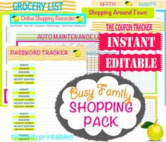 INSTANT and EDITABLE Download - Home Binder Printables - Shopping Printables - Busy Family - 7 Documents