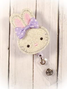 Cute Easter Bunny w/ Purple Bow Nurse by PrettieCuteBoutique