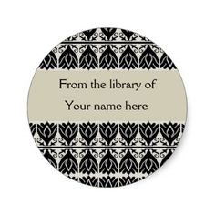 Personalized Bookplates - Black Damask Stickers
