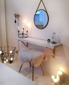 trendy bedroom ideas for small rooms inspiration bedside tables Ikea Bedroom, Room Decor Bedroom, Bedroom Ideas, Warm Bedroom, Gold Bedroom, White Bedroom, Vanity Room, Make Up Desk Vanity, Small Vanity