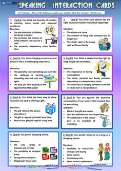 Speaking - Interaction Cards worksheet - Free ESL printable worksheets made by teachers Learn English Speaking, English Language Learning, Teaching English, Esl Lessons, English Lessons, Speaking Games, Public Speaking, Esl Lesson Plans, Conversational English